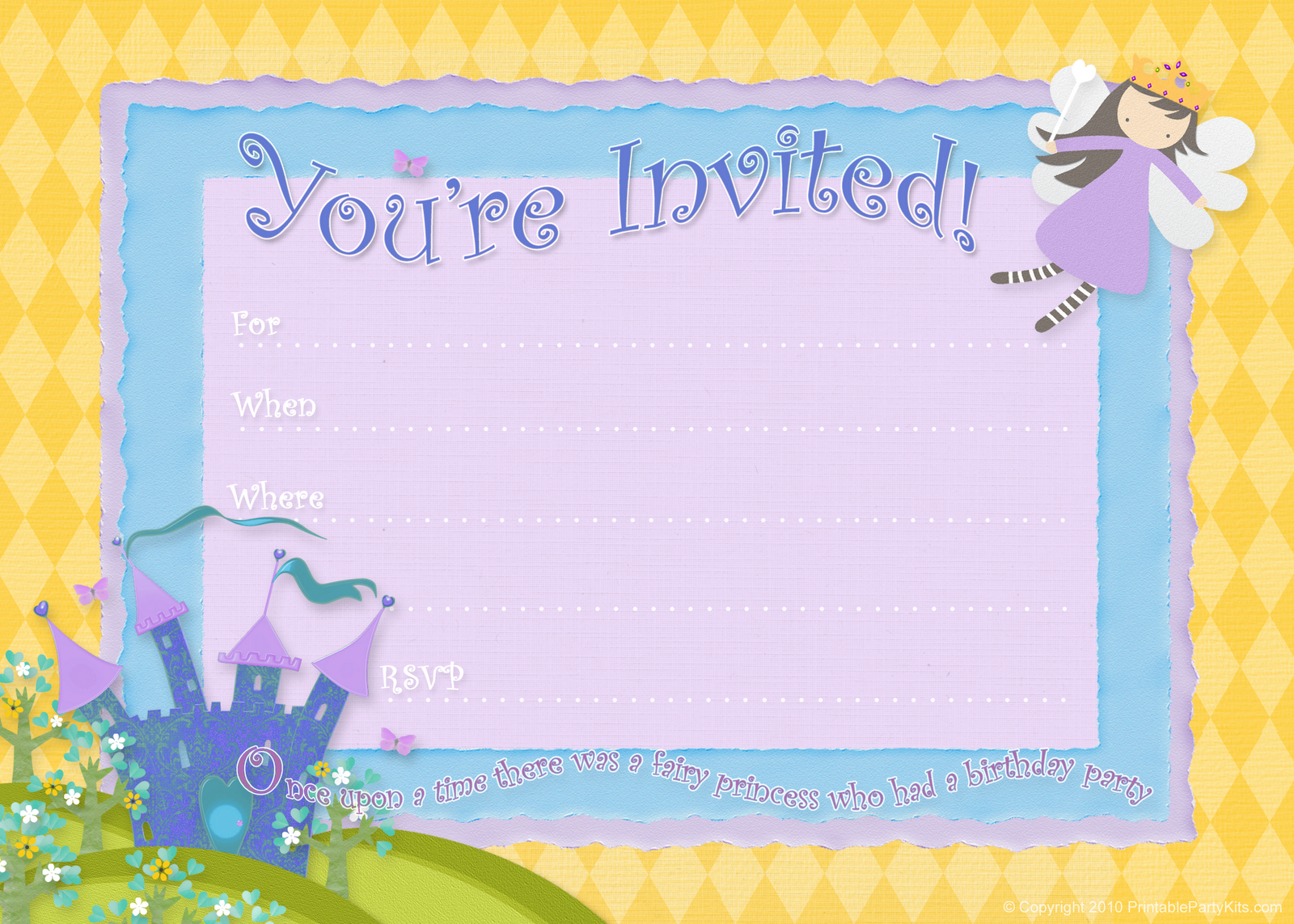 Fairy Princess Birthday Party Announcements