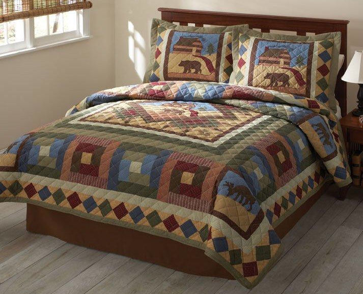 Cabin creek bedding hunting cabin quilt set rustic and for Hunting cabin bedroom