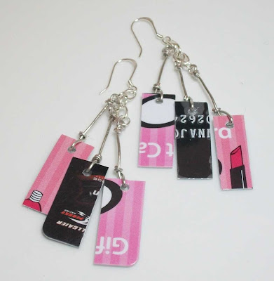 Pink and Black Take Credit Earrings