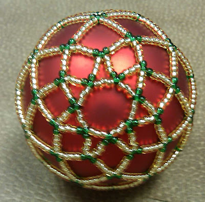 Bottom of ornament made using beaded netting