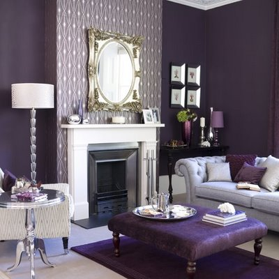 Site Blogspot  Wallpaper Room on Room By German Stylist Matahina  Purple Velvet Sofa With Wallpaper