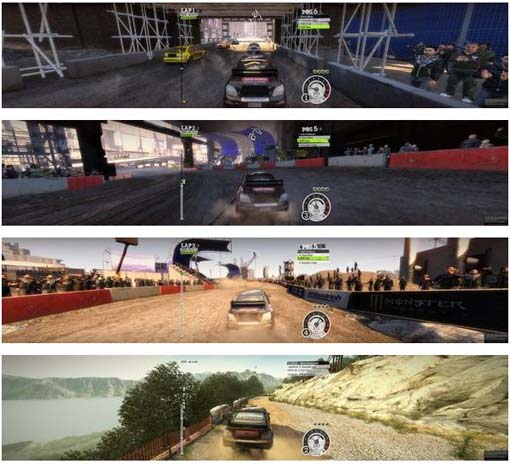 Game DIRT2 executando em nVIDIA 3D Vision Surround