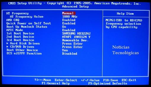 BIOS - Advanced Setup - ECS MCP61M M3