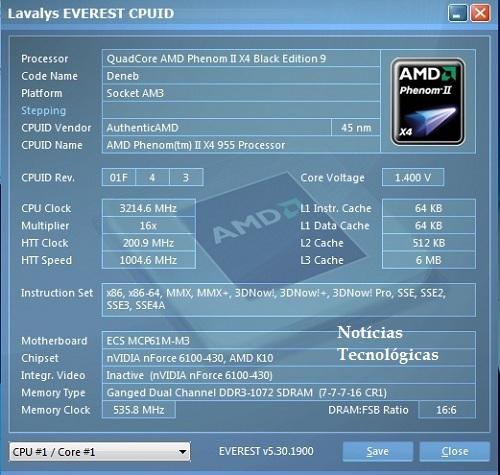 Benchmarck Everest Memórias - Motherboard ECS MCP61M-M3 AMD Phenom II X4 955
