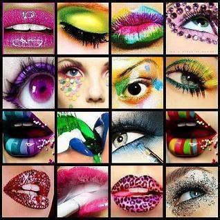 Olhos e bocas coloridas, super diveritido