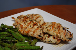 ... Garlic-Marinated Chicken Cutlets with Grilled Potatoes and Asparagus