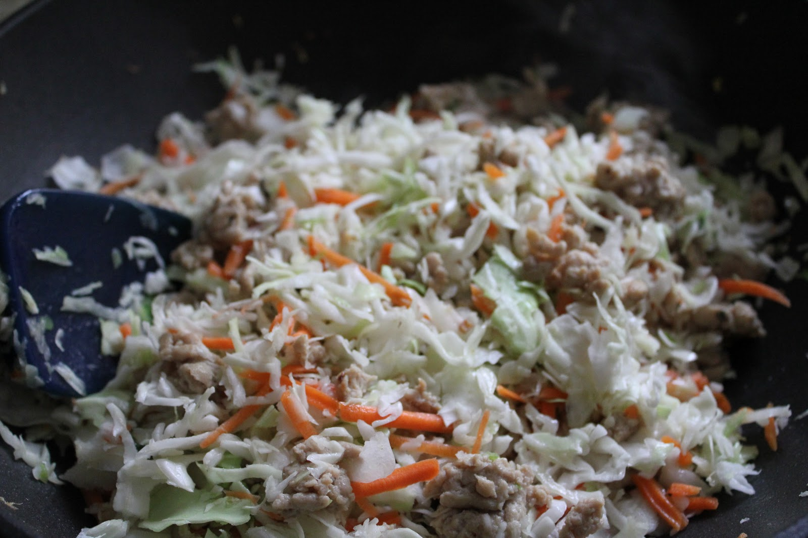 Stir fry coleslaw and meat until combined