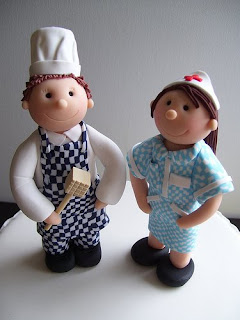 Personalised Nurse And Chef Wedding Cake Toppers Handcrafted From Fimo