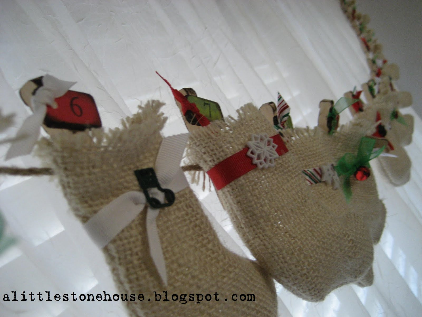 burlap stocking advent garland