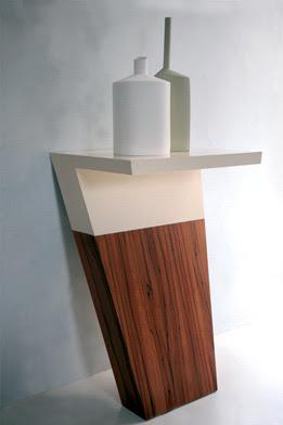 masuta alb si lemn masiv