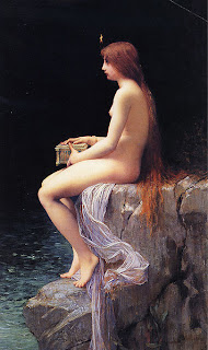 Pandora sitting on the rocks holding her Jar (or Box) looking as lonely as I felt when I was consumed by porn