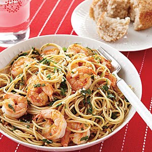 Healthy Tiger: Shrimp Scampi over Whole Wheat Pasta