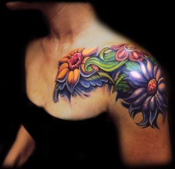 girl shoulder tattoos. Back Shoulder Tattoos.