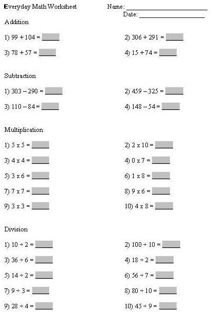 meredith 39 s teaching portfolio the math we use everyday worksheet
