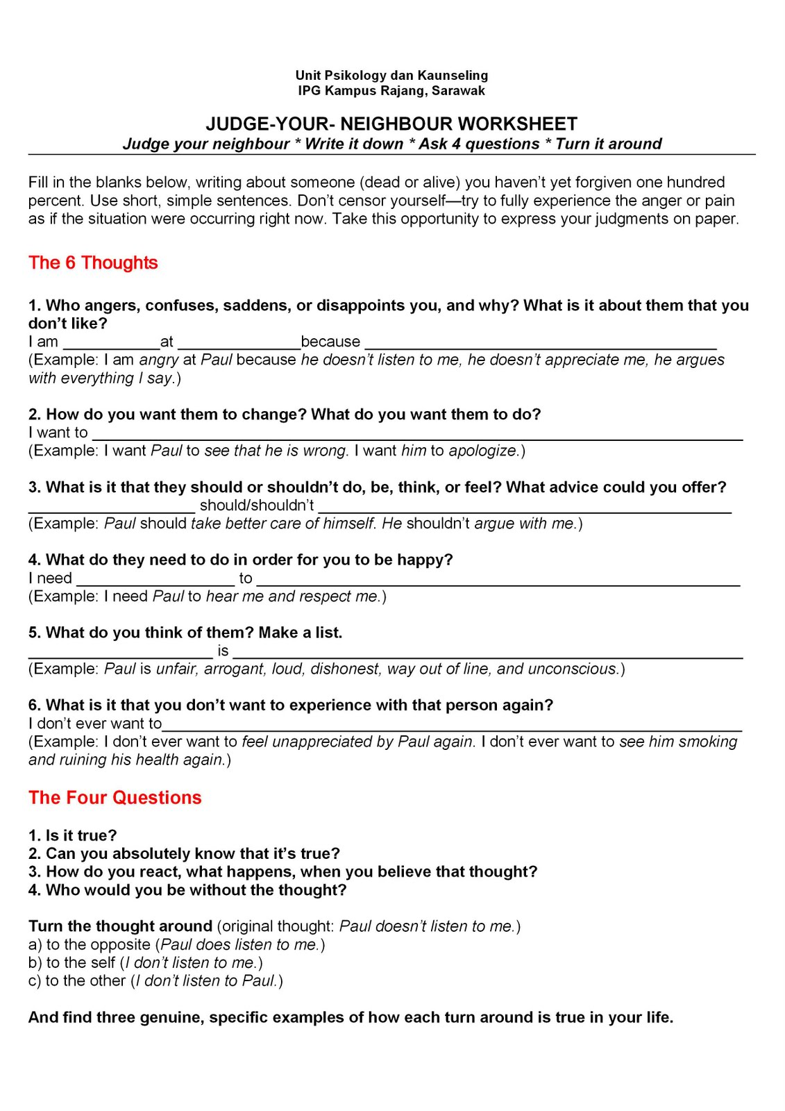 KIWIMAS Counsellors favourite 6 Thoughts 4 Questions – Byron Katie Worksheet