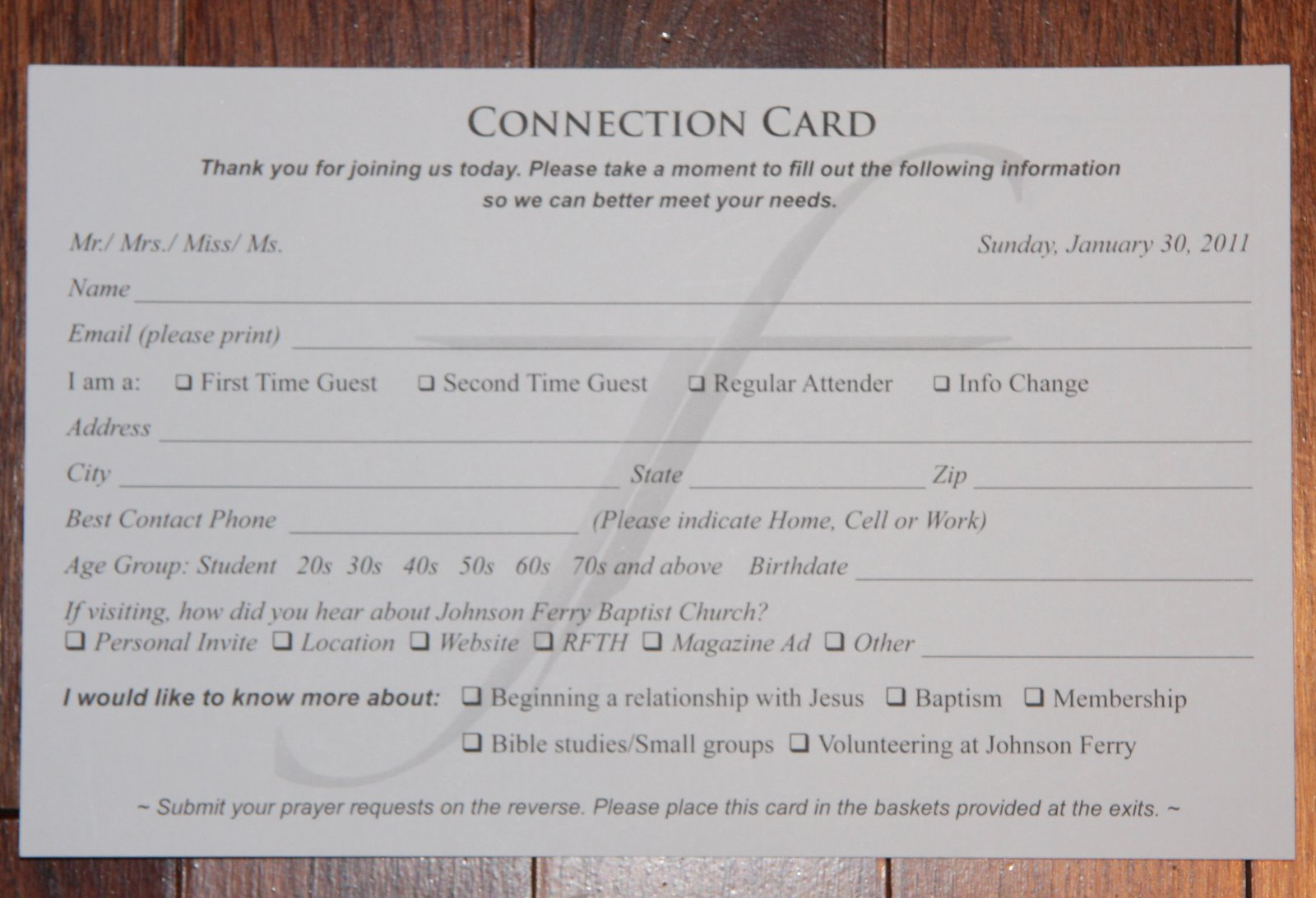 "Every Sunday our church includes a ""Connection Card"" in its bulletin ..."