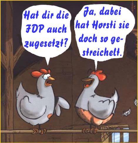 2x gerupftes Huhn: CDU u. CSU als durch die FDP gerupfte Hühner