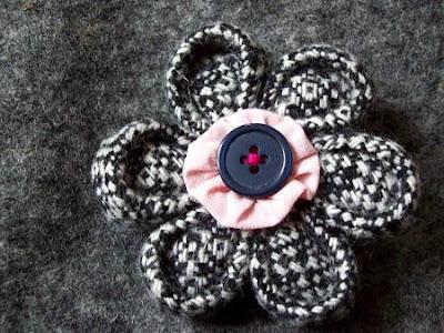 Kanzashi schwarz-weiß Tweed