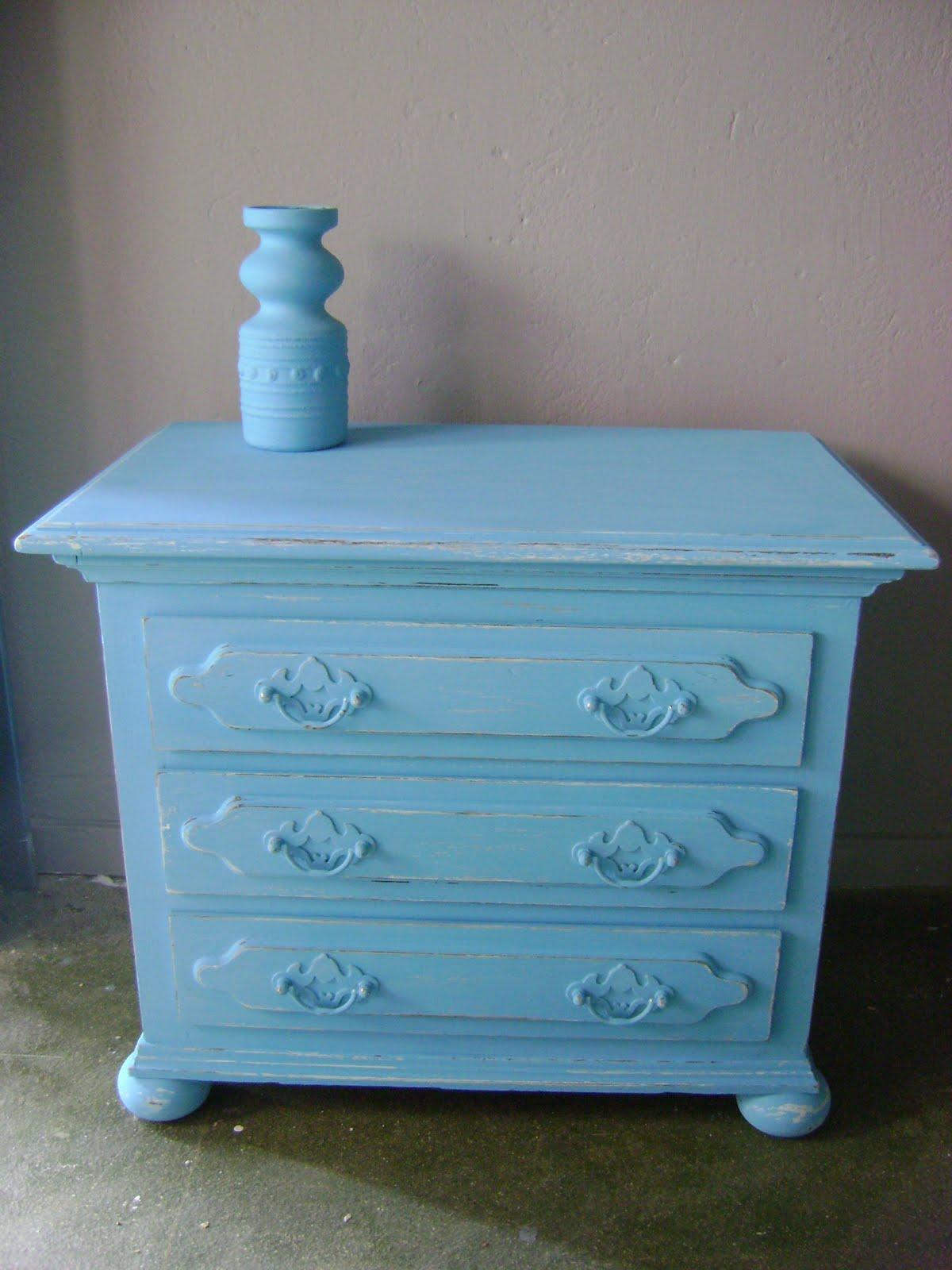 """Goed in stijl: ladenkastje """"triple turquoise"""" (verkocht)"""