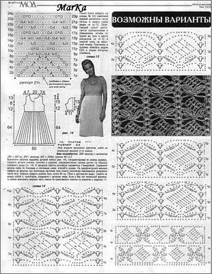 Ажурное вечернее вязанное платье со схемой и описанием.