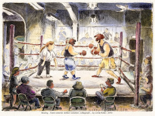 Collagraph, artist proof, hand colored...Boxing in Mineral Point