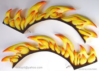 hand-carved wood flames