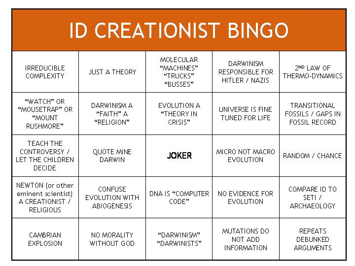 Creationist bingo