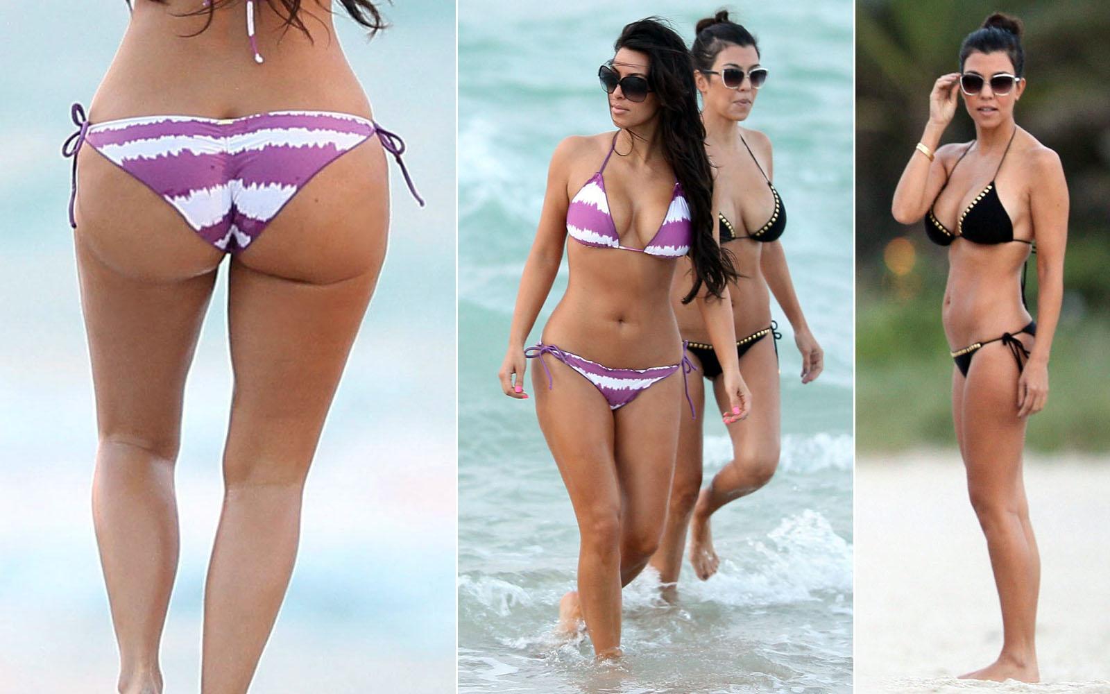 Kim Kortney Kardashian Show Off Their Beach Bodies in Tiny Bikini
