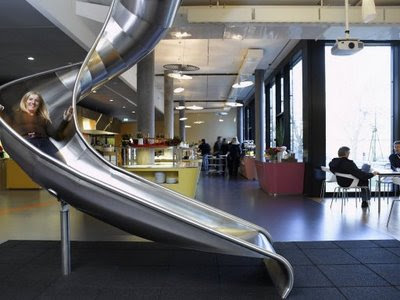 in Google office, they made movement simple. You dont need stair to get down from second floor to first floor. Just slide and you reach down just a few seconds