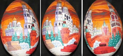 paint a building on egg surface