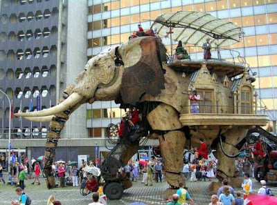 mechanical robotic elephant walking in london street