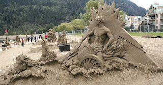 what happen when dog owner let his dog out in this sand castle area?