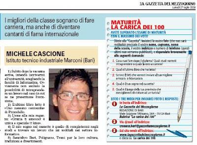 Michele Cascione, diplomato Perito Informatico con 100/100
