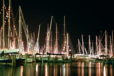 sailboats, boat show, annapolis, MD night, reflection