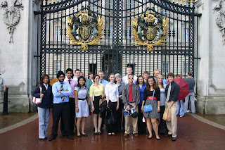 Our class at the gate of Buckingham Palace.