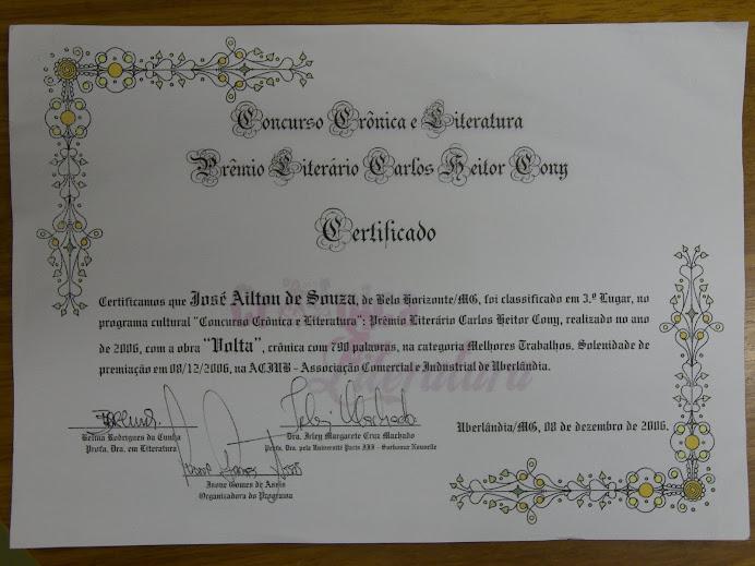 Certificado Premiação