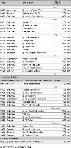 D.C. United 2008 Schedule