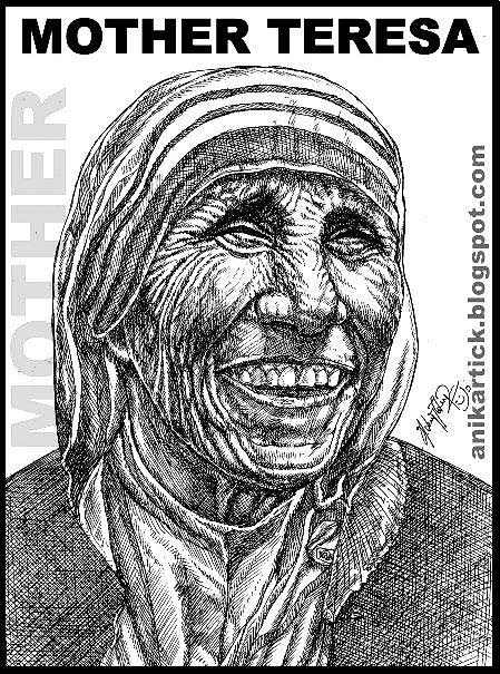 Famous Line Art Drawings : Mother teresa portrait animation artist anikartick