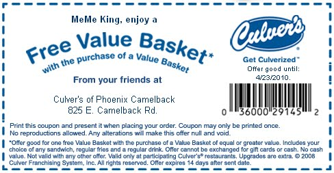 Culvers coupons printable 2019