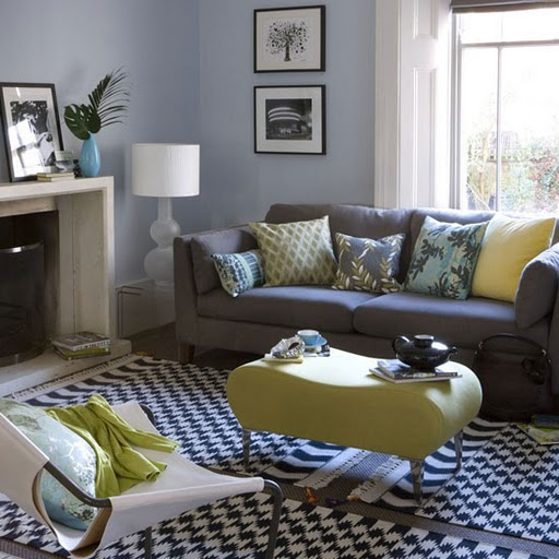 gray grey livingroom with yellow blue accent modern chequered carpet