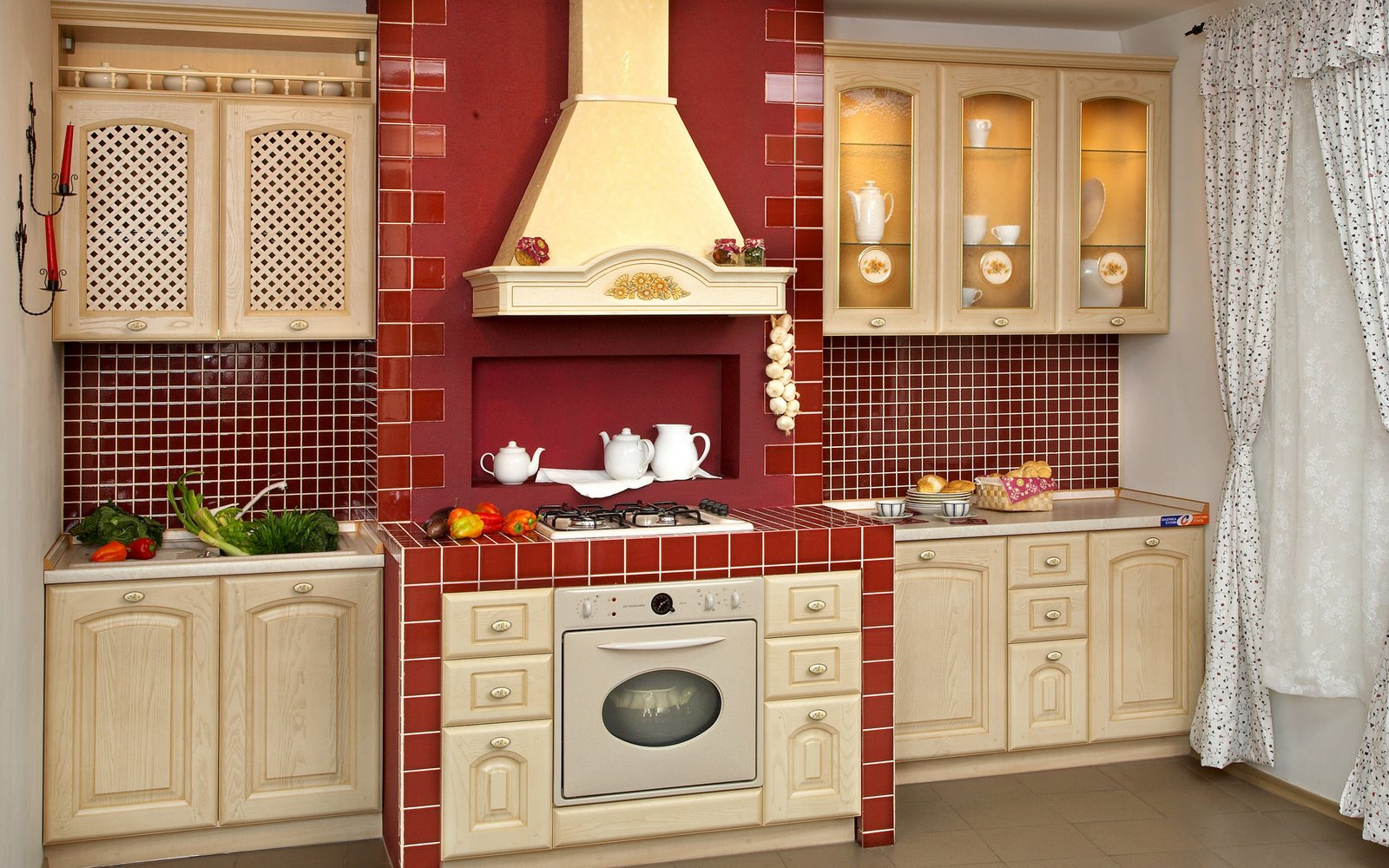 Modern kitchen designs in red interior decorating home for Old country style kitchen