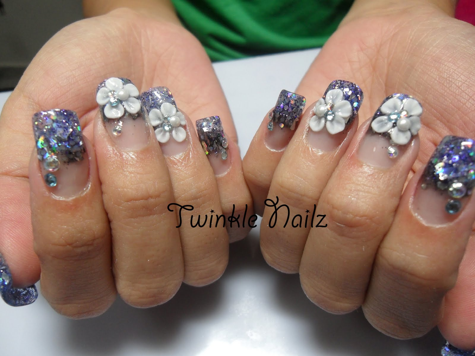 3D, Acrylic Nails, inlay nail art by Twinkel Nailz