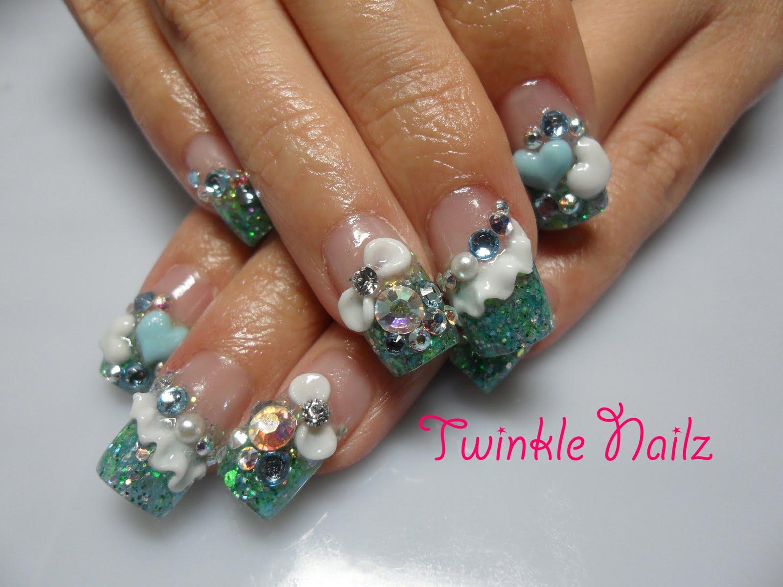 3d acrylic nail designs 3d acrylic nails bridal