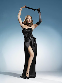 Kelly Brook as a Famous Starlet Rita Hayworth in Elegant Black Satin Strapless Gown Fashion Model Photo Shoot Session