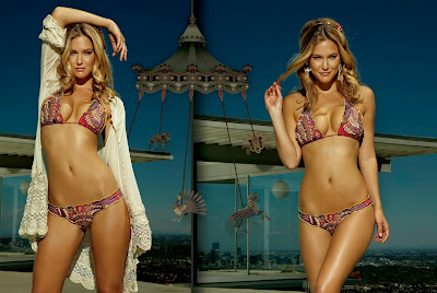 Bar Refaeli in Wonderful Colorful Agua Bendita Swimsuit Swimwear Fashion Model Photoshoot Session
