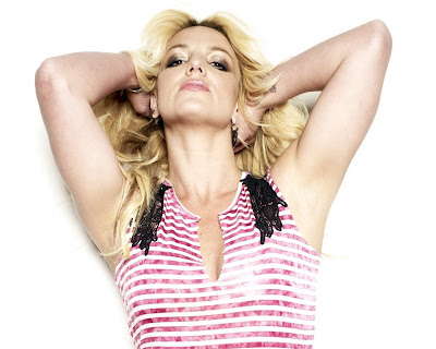 Britney Spears in Lovely Pink Striped Tight Mini Dress Fashion Model Photo Shoot Session