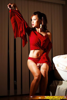 Francine Dee in Sexy Red Rose Flower Cropped Dress Fashion Model Photoshoot Session