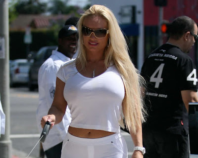 Nicole Coco Austin with Trendy White Street Fashion Style in West Hollywood