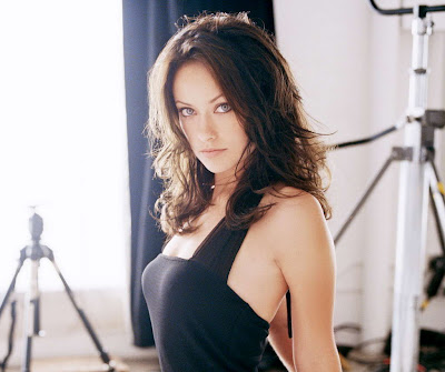 Olivia Wilde in Sexy Black Elegant Party Sleeveless Slim Dress Fashion Model Photo Shoot Session