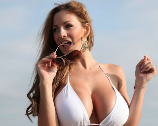 Jordan Carver white bikini photoshoot at beach